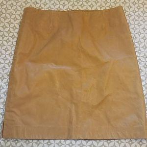 Theory tan leather mini skirt